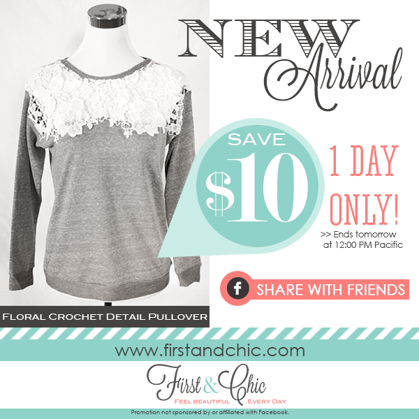 Save $10 on Floral Crochet Detail Pullover