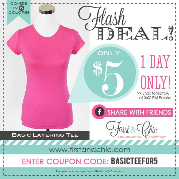 $5 Basic Layering Tee Sale