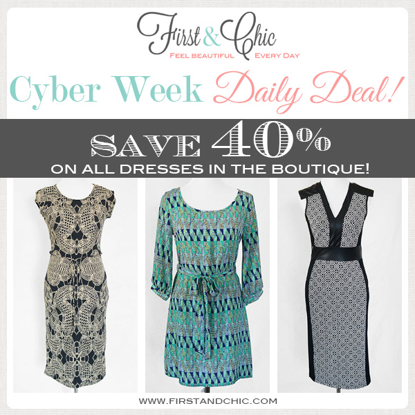 Cyber Week Deal #2 from First & Chic Boutique, all dresses are 40% off!